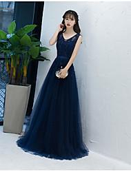 Formal Evening Dress A-line V-neck Floor-length Tulle with Sash / Ribbon
