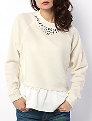 Women's Going out / Casual/Daily Cute Spring / Fall T-shirt,Patchwork Round Neck Long Sleeve White / Black