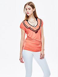 Herz Soul® Damen Rundhalsausschnitt Kurze Ärmel T-Shirt Weiß / Orange-11AA27124