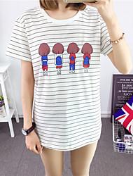 Tee-shirt Aux femmes,Imprimé Décontracté / Quotidien simple Eté Manches Courtes Col Arrondi Blanc Coton Moyen