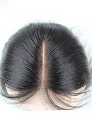 8inch-20inch # 1B Изготовлено вручную Прямые Человеческие волосы закрытие Умеренно-коричневый Швейцарское кружево 150g грамм Средние