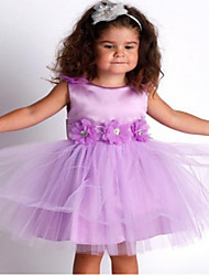 2017 robe de bal genou fille fleur robe - tulle manches bijou avec un arc (s) / fleur (s) / châssis / ruban