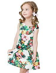 Girl's Cotton Spring/Autumn Print Flower Sundress Sleeveless Princess Dress