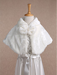 Kids' Wraps Shrugs Sleeveless Faux Fur Ivory Wedding Party/Evening Casual Scoop 34cm Bow Hidden Clasp