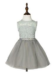 Vestido de baile de joelho com vestido de flor com joelho - Tulle sem mangas com gola de jóias com beading