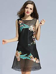 klimeda женщин вскользь / ежедневно мило смена одежды, вышитые вокруг шеи выше колена ¾ рукав полиэстер летом
