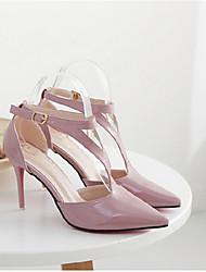 Mujer-Tacón Stiletto-Tacones-Tacones-Casual-PU-Negro / Rosa