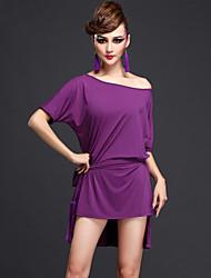 Latin Dance Dresses Women's Performance Rayon / Chinlon Sash/Ribbon 3 Pieces Black / Purple / Royal Blue Half Sleeve
