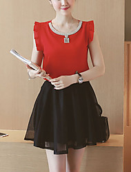 Women's Going out Cute Summer Set,Solid Round Neck Sleeveless Pink / Red / White Polyester Thin