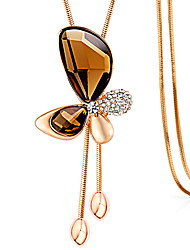 Butterfly Crystal Long Necklace Pendant Necklaces Rose Gold Plated Sweater Chain Women Wedding Jewelry With Gift Box