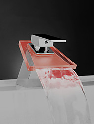 Glass Color Waterfall Bathroom Sink Faucet Basin Temperature Mixer tap