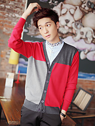 Men's Casual/Daily Cardigan,Color Block Long Sleeve Cotton Fall