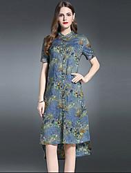 De las mujeres Vaina Vestido Noche Sofisticado,Estampado Escote Chino Asimétrico 1/2 Manga Azul Lino Verano