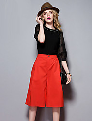 sólidas calças chinos vermelho, chique rua das mulheres Sybel