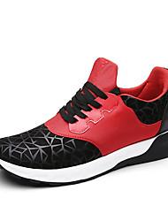 Femme-Extérieure / Décontracté / Sport-Noir / Bleu / Noir et rouge-Talon Plat-Confort-Sneakers-Cuir