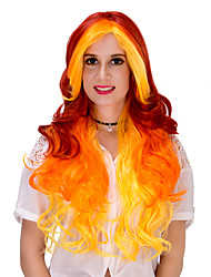 Red yellow and long hair wig.WIG LOLITA, Halloween Wig, color wig, fashion wig, natural wig, COSPLAY wig.