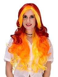 Mujer Pelucas sintéticas Sin Tapa Muy largo Naranja Pelucas sin tapa Peluca de Halloween Peluca de carnaval Las pelucas del traje