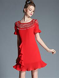 mulheres plus size aofuli irmã mais velha sexy oco talão plissado patchwork prega elegante um vestido de linha
