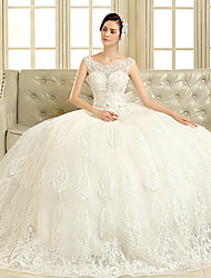 Ball Gown Wedding Dress Floor-length Scoop Tulle with Beading / Bow