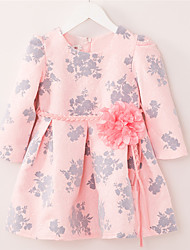 Girl's Casual/Daily Floral Dress,Cotton / Polyester Winter / Fall Pink