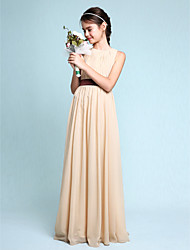 Lanting Bride® Floor-length Chiffon Junior Bridesmaid Dress Sheath / Column Scoop with Draping