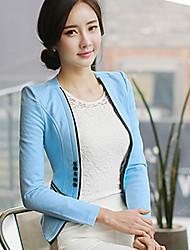 Women's Casual/Daily / Cute Spring / Fall Blazer,Solid V Neck Long Sleeve Blue Polyester Medium