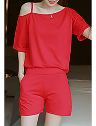 Women's Going out / Casual/Daily Active Summer Set,Solid Round Neck Short Sleeve Red / Black Rayon Medium