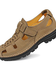 Men's Sandals Spring Fall Nappa Leather Casual Low Heel Others Black Brown Yellow Khaki