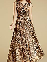 BORME® Women's V Neck Sleeveless Bohemia Floral Print Maxi Dress-J503C