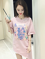 Maternity Casual/Daily Simple T Shirt Dress,Print Round Neck Asymmetrical ½ Length Sleeve Pink Polyester Summer