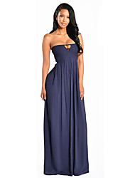 Women's Party Sexy Sheath Dress,Solid Strapless Maxi Sleeveless  All Seasons High Rise
