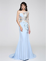 2017 TS Couture® Prom Formal Evening Dress Trumpet / Mermaid Jewel Court Train Chiffon with Sequins