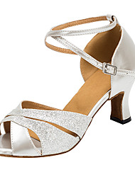 Non Customizable Women's Dance Shoes Flocking Flocking Latin / Salsa Sandals / Heels Flared Heel Indoor Silver / Gold