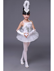 Ballet Dresses Children's Performance Polyester Lace 1 Piece White Ballet Sleeveless Natural Dress