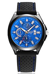 Hombre Reloj de Moda Cuarzo Calendario Resistente al Agua Caucho Banda Casual Negro Azul