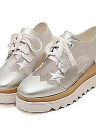 Homme-Extérieure / Décontracté-Noir / Blanc / Argent-Plateforme-Creepers-Sneakers-Similicuir