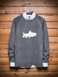 Men's Print Casual Pullover,Wool Long Sleeve Black / Blue / Gray