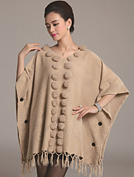 Damen Lang Mantel / Capes-Lässig/Alltäglich Übergröße Street Schick Solide Weiß Beige Grau V-Ausschnitt ½ Länge Ärmel Wolle Baumwolle
