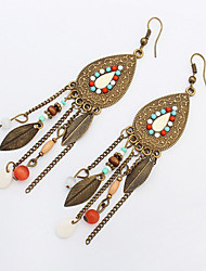 2016 Vintage Fashion Long Tassel Earrings Retro Bohemian Beaded Oval Leaves Dangle Earrings For Women Boucle