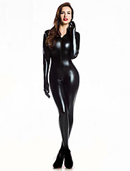 Women Zentai Bodysuit Jumpsuit Sexy Black Shiny Latex Full Body Zentai Suit Lycra Jumpsuit catsuit With Gloves Halloween/Christmas/New Year
