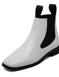 Damen-Stiefel-Lässig-PU-Flacher AbsatzSchwarz Weiß