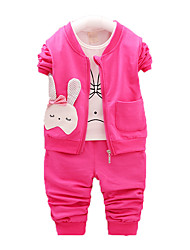 Girl's Casual/Daily Print Clothing Set,Cotton Winter Green / Pink / Red / Yellow / Gray