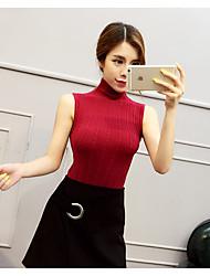 Normal Pullover Femme Décontracté / Quotidien simple,Couleur Pleine Rouge / Blanc / Noir / Marron / Gris / Vert Col Roulé Sans Manches