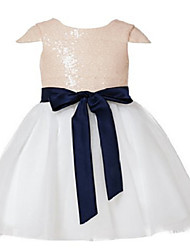 Ball Gown Tea-length Flower Girl Dress - Tulle / Sequined Short Sleeve Jewel with Lace / Sash / Ribbon / Sequins