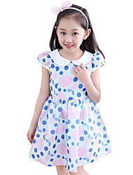 Girl's Casual/Daily Polka Dot Dress,Cotton Summer Blue / Green