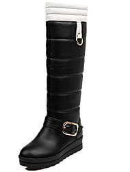 Damen-Stiefel-Lässig-PU-Flacher Absatz-Komfort Modische Stiefel-Schwarz Weiß Orange