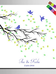E-HOME® Personalized Fingerprint Painting Canvas Prints -A Bird On A Branch (Includes 12 Ink Colors)