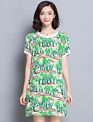 Women's Plus Size / Going out Simple Sheath Dress,Print Round Neck Above Knee Short Sleeve Green Polyester Summer