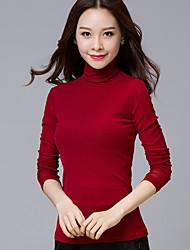 Tee-shirt Femme,Couleur Pleine Décontracté / Quotidien Chic de Rue Automne Hiver Manches Longues Col Roulé Bleu Rouge Noir Coton Polyester