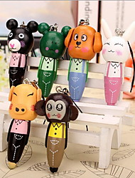 Wooden Phone Chain Hanging Ballpoint Pens Creative Cartoon Animal Gift Pen (Random Color)